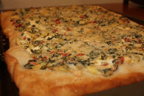 Spinach, artichoke, cream cheese pizza