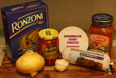 Ingredients for Pasta with Sausage and Goat Cheese