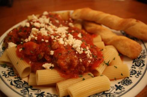 Pasta with sausage and goat cheese
