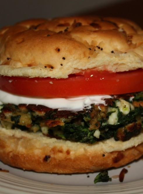 Spinach and feta burger