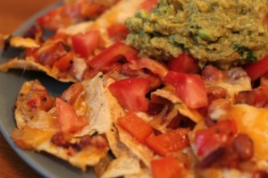 guacamole on nachos