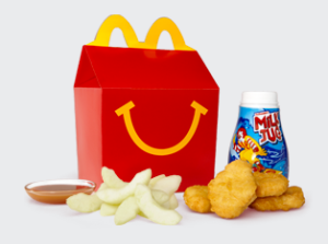 Happy meal with apples
